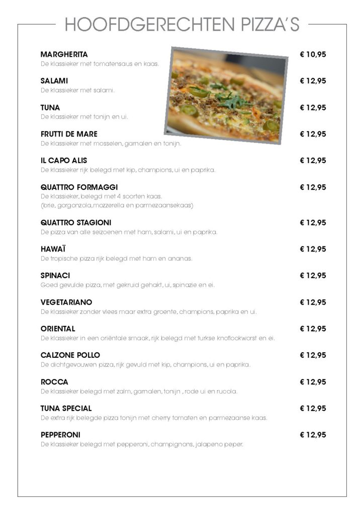 Dinner menu Rocca